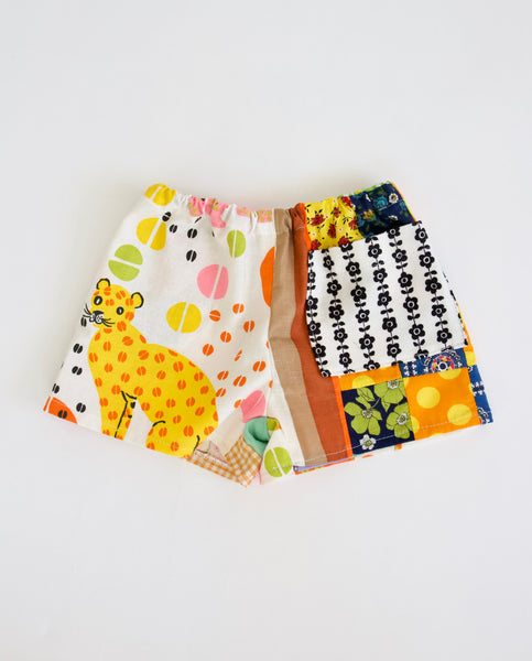 Leopard + Quilt Top Play Shorts, Size 1/2