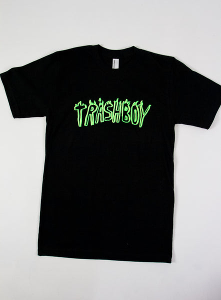 TRASHBOY TEE, GREEN + YELLOW FLUORO