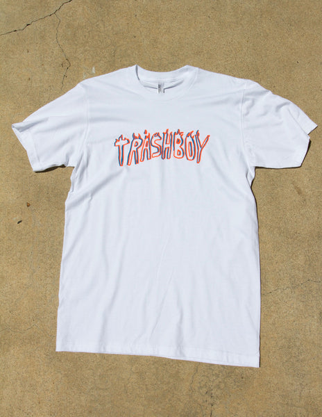 TRASHBOY TEE, BLUE + ORANGE FLUORO