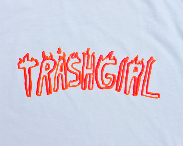 TRASHGIRL TEE, PINK + ORANGE FLUORO