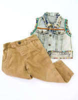 Hand Beaded Vest and Cords Bundle, 1-2T