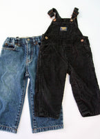Black Cord Overalls and jeans Bundle, 1-2T