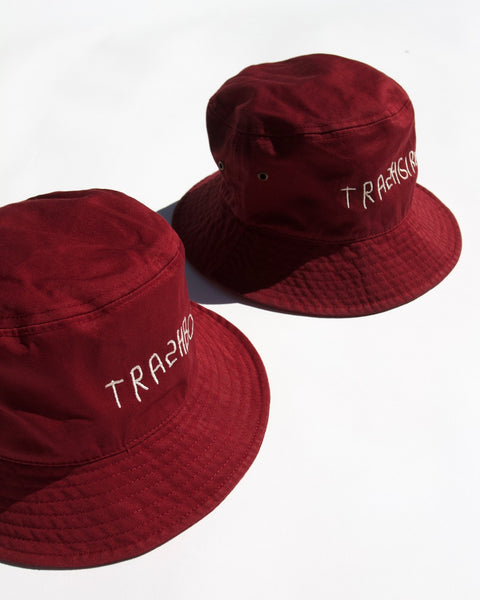 EMBROIDERED MAROON BUCKET HAT