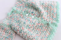 Scalloped Mint Baby Sweater, 0-3 months