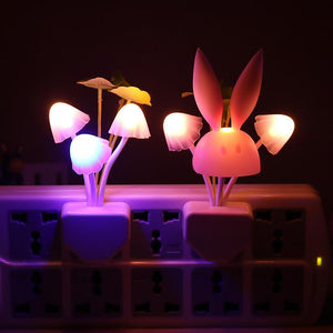 LED Mushroom Rabbit Night Light US & EU plug Smart Light Sensor Changeable Color Lamp Wall Lamp For Home Bedroom Decoration