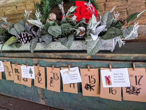 Rustic Advent Calendar with Holiday Activities