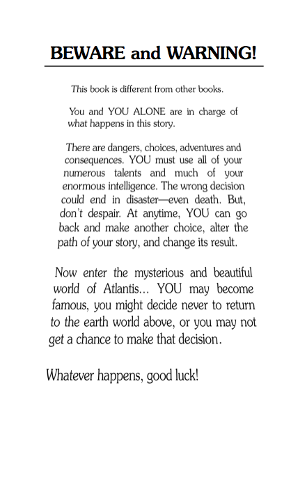Choose Your Own Adventure interior page