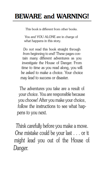 Choose Your Own Adventure Beware and Warning