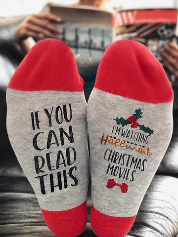 If You Can Read This I'm Watching Hallmark Christmas Movies Red Socks