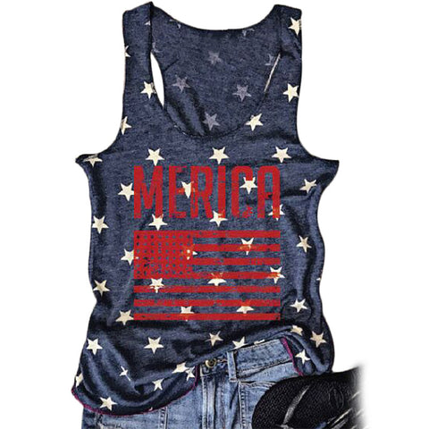American Flag Star Tank Top