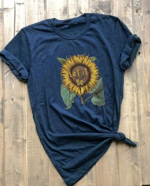 Let It Be Sunflower Print T-shirt