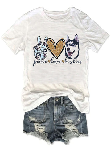 Peace Love Huskies Dog Tee