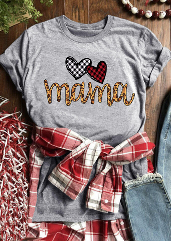 Buffalo Plaids Heart Love Mama T-shirt