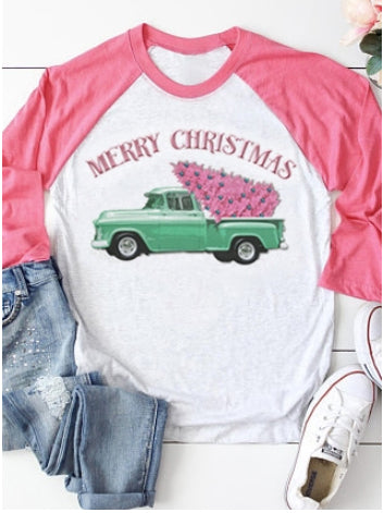 Merry Christmas Car Baseball T-shirt
