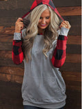 Red Plaid Sleeve Spliced Hoodie