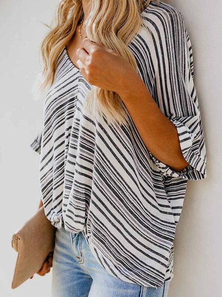 Striped V Neck Elegant Blouse