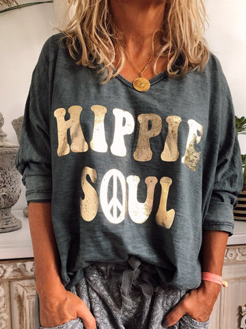 Hippie Soul Casual Round Neck Tee