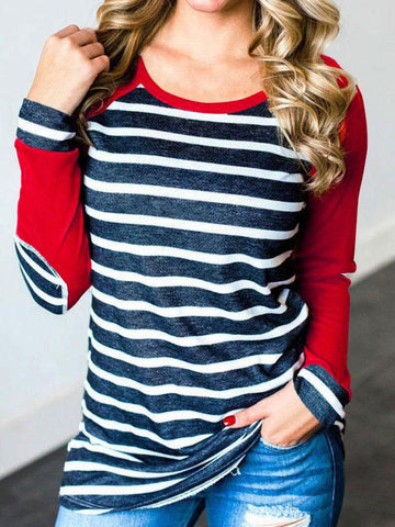 Striped Elbow Patch T-shirt
