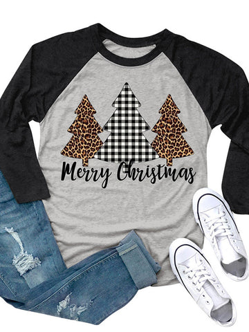 Gray Merry Christmas Tree T-shirt