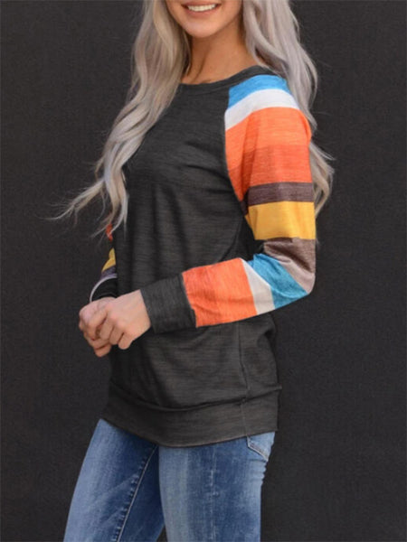 Striped Sleeve Splicing Sweatshirt