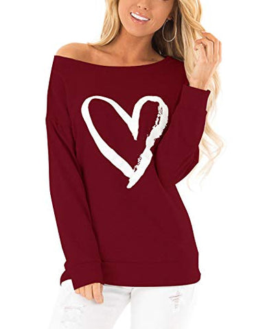 Heart Print Slash Shoulder Sweatshirt