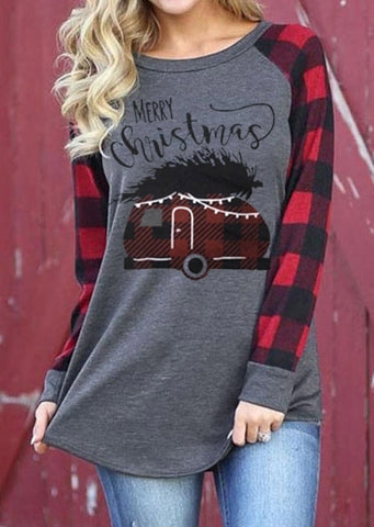Merry Christmas Plaid Splicing  Tee