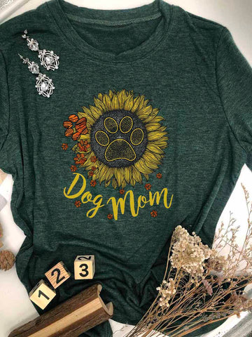 Dog Mom Dog Paw Sunflower T-shirt
