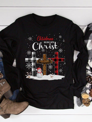 Christmas Begins With Christ Long Sleeve T-shirt