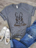 Happy Easter Bunny With Leopard Glasses Tee