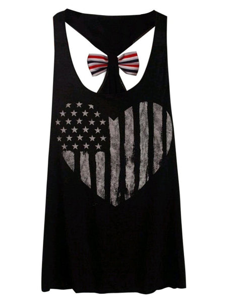 American Flag Bowknot Tank Top