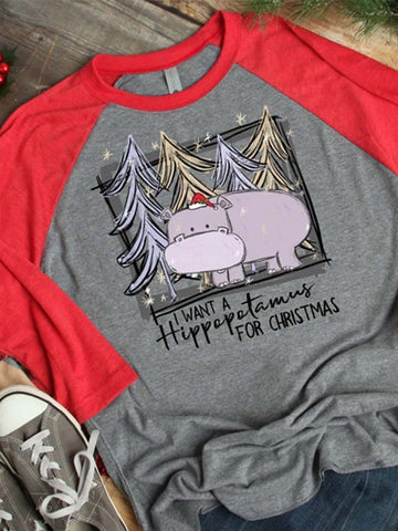 I Want A Hippopotamus For Christmas Long Sleeve Tee