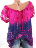 Lace Panel Floral Print Blouse