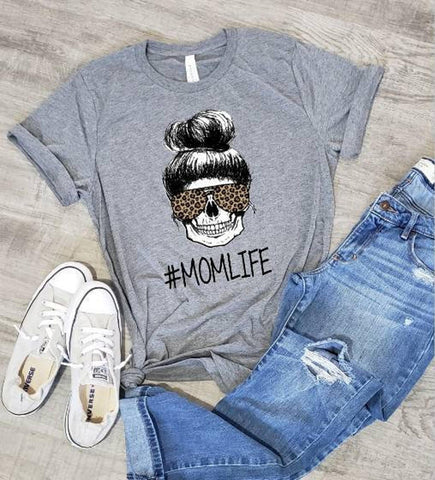Mom Life Leopard Skeleton T-shirt