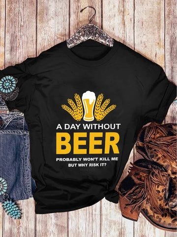 A Day Without Beer Black T-shirt