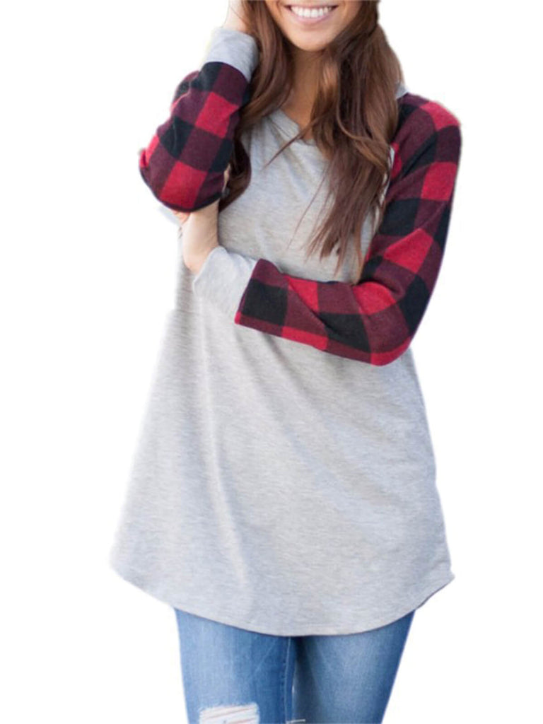 Plaid Patchwork Raglan Sleeve Pullover Top
