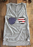 American Flag Glasses O-Neck Tank