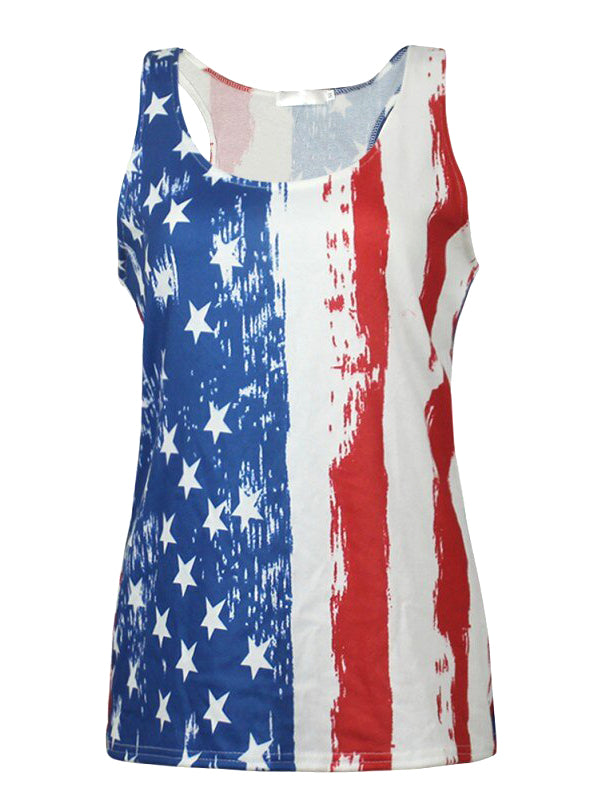 American Flag Printed Striped Tank Top