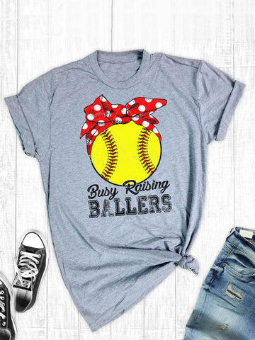 Yellow Baseball Print T-shirt