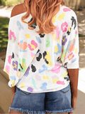 Slash Shoulder Cute Print T-shirt