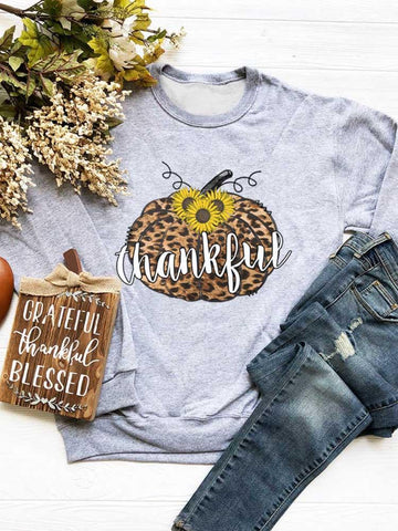[PRE-SALE] Thankful Sunflower Leopard Printed Pumpkin Sweatshirt