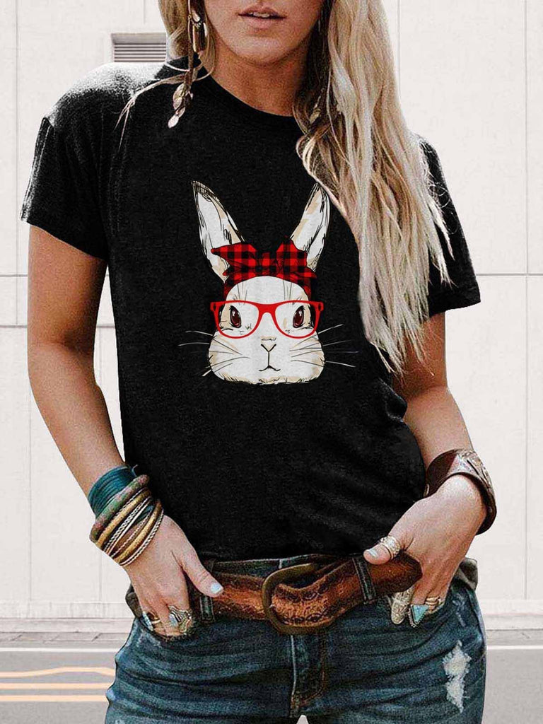 Bunny With Buffalo Plaids Butterfly Tie Red Glasses Tee