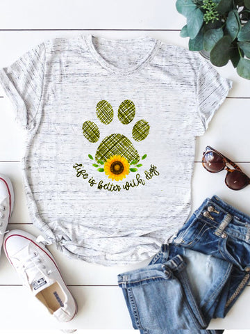 Life Is Better With Dog Sunflower Tee