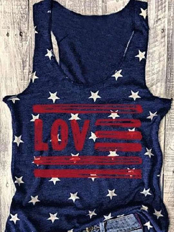 Love American Flag Star Tank