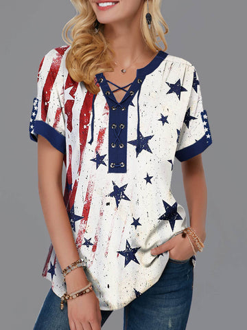 American Flag Star Short T-shirt