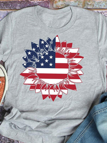 American Flag Sunflower Tee