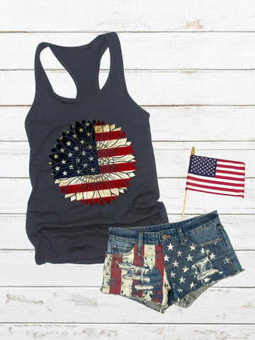 American Flag Sunflower Tank