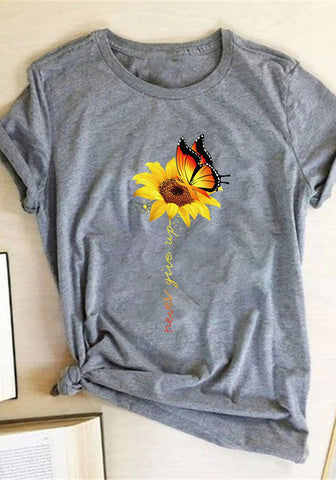 Never Give Up Sunflower Butterfly Tee
