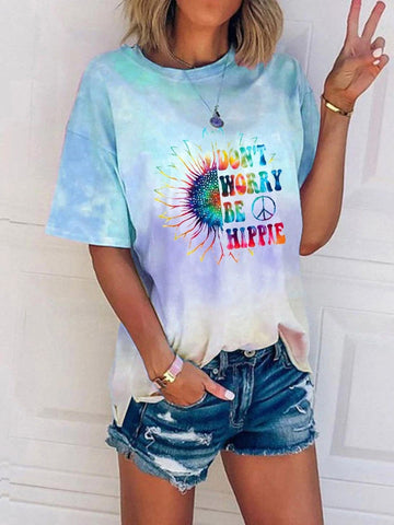 [PRE-SALE] Don't Worry Be Hippie Sunflower Tie-Dye Tee