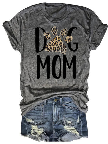 Dog Mom Leopard Paw Tee