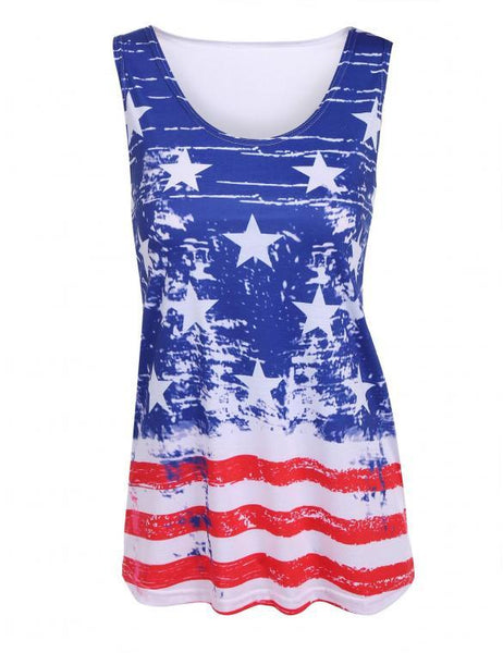 American Flag Print Cotton Top